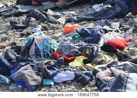 Materials From Refugees Wash Ashore At Lesvos