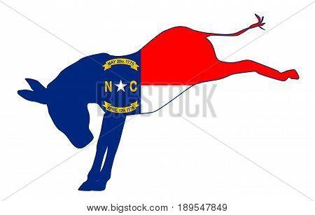 The North Carolina Democrat party donkey flag over a white background
