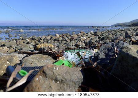 Brush, Materials From Refugees Wash Ashore At Lesvos