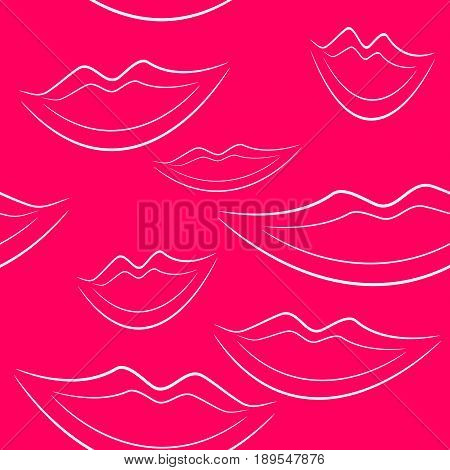 Pink background with white lips pattern seamless
