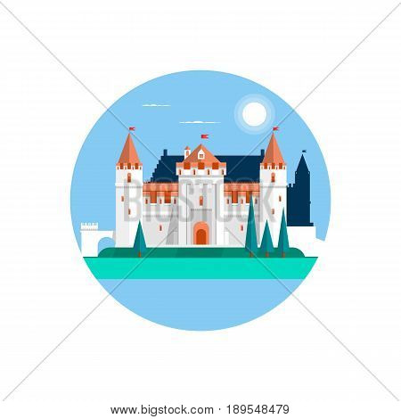 Fairytale castle , isolated on white. Fairy white castle. Flat vector illustration