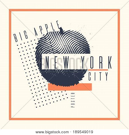 Stylish poster new York the big Apple on abstract background. Vector illustration for t-shirts and tourist advertising