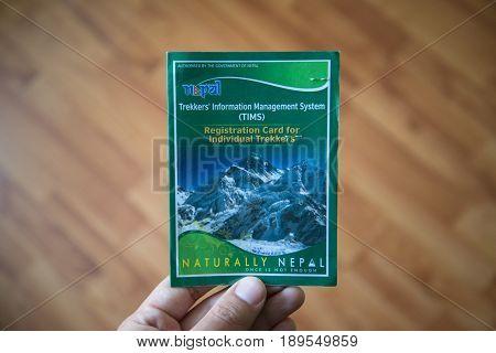 Kathmandu, Nepal, circa may 2017: Trekkers' information management system (TIMS). Registration card for individual trekkers in Nepal Himalaya.