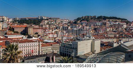 Lisbon Portugal. 23 February 2012.View of Lisbon town from the Santa Luzia viewpoint. Lisbon Portugal. photography by Ricardo Rocha.
