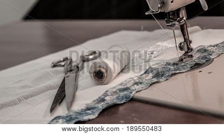 Sewing Machine, Sewing Process, Scissors And Thread Next To Machines, Pause To Replace The Thread, F