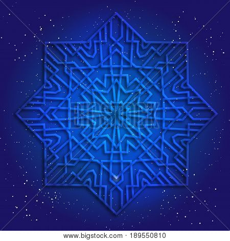 Sacral geometry 3d design. Mandala, arabesque in cosmos. Magic kabbalah figure. Esoteric illustration.