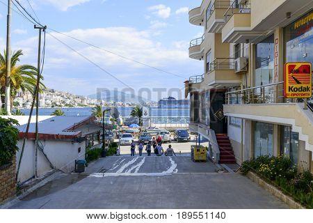 SARANDA, ALBANIA - MAY 18: Street view of the city Saranda, most important tourist attraction of the Albanian Riviera on May 18, 2017 in Saranda, Albania.