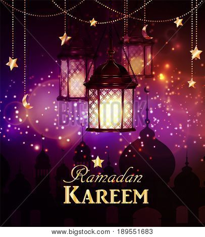 Ramadan Kareem, greeting background with hanging stars moons and lights vector
