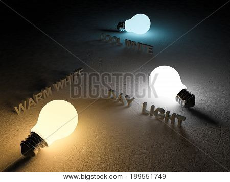 3D rendering image of 3 light bulb or lamps place on the cracked concrete floor. Night scence perspective. Color temperature scale. Cool whitewarm white day light. different 3 colors of light effect
