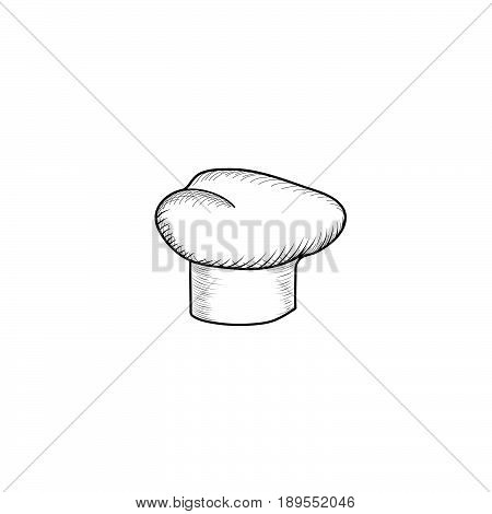 Cook hat engraving sign. Drawn hat chef cook. Hat chef-cooker. black hat chef cook on a white background