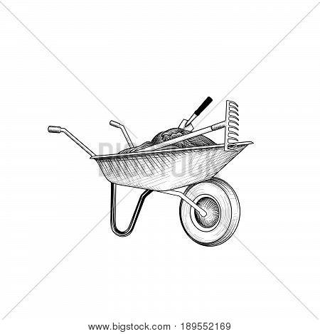 Garden cart with humus and garden tools. Wheelbarrow engraving. Gardening care sign.