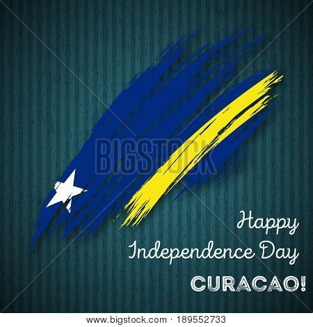 Curacao Independence Day Patriotic Design. Expressive Brush Stroke In National Flag Colors On Dark S