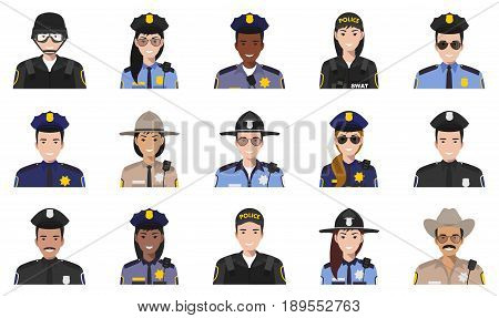 Set of colorful police flat style icons: sheriff, SWAT officer, policeman and policewoman. Vector illustration.