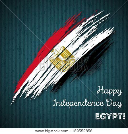 Egypt Independence Day Patriotic Design. Expressive Brush Stroke In National Flag Colors On Dark Str