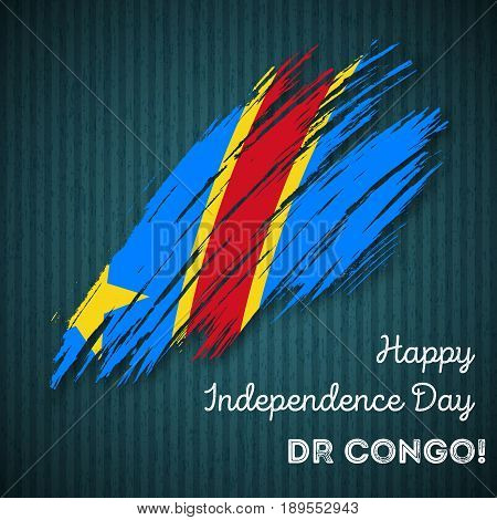 Dr Congo Independence Day Patriotic Design. Expressive Brush Stroke In National Flag Colors On Dark