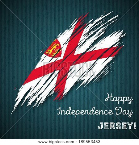 Jersey Independence Day Patriotic Design. Expressive Brush Stroke In National Flag Colors On Dark St
