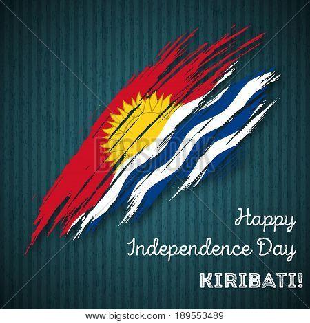 Kiribati Independence Day Patriotic Design. Expressive Brush Stroke In National Flag Colors On Dark