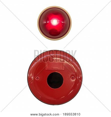 Red Fire Alarm bell with light isolated with clipping path