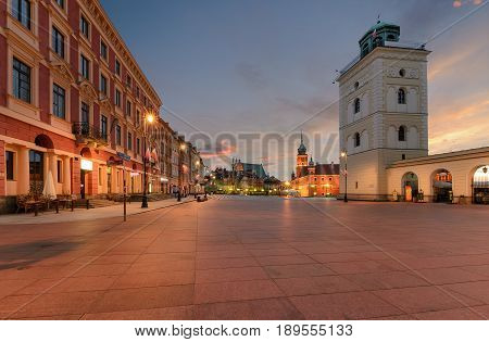 Royal castle and old town square at sunrise in Poland Europe