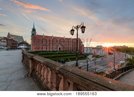 Royal castle in old town of Warsaw Poland Europe in sunrise time.