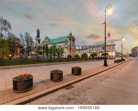 Warsaw kingsroad in the evening in Poland Europe