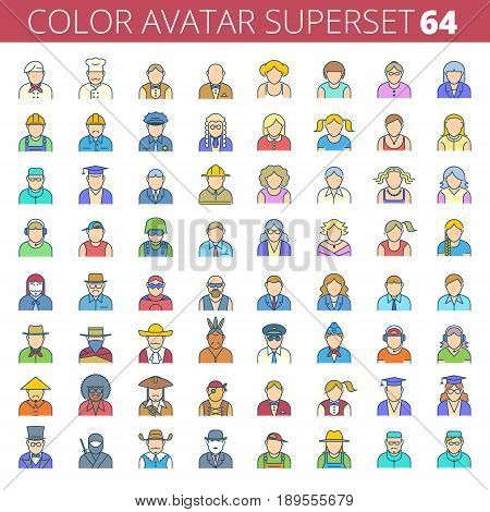 Business, office, profession, occupation avatar set. Male, female, boys, girls faces. Human heads line vector illustration. Flat colorful outline design elements for web, presentations, social media.