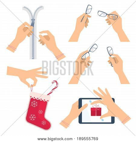 Hands are unzipping a zipper. Hand with glasses and christmas red sock with candy cane. Hand on the screen of digital tablet is stretching celebration gift box. Flat vector concept illustration set.