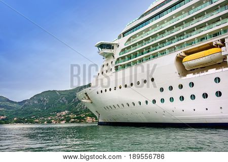 Cruise ship anchored in the Bay of Kotor Montenegro