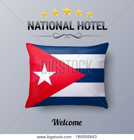 Realistic Pillow and Flag of Cuba as Symbol National Hotel. Flag Pillow Cover with Cuban flag