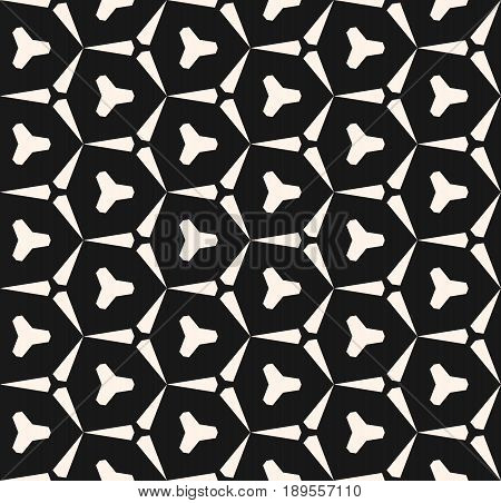 Vector seamless black and white geometric pattern. Abstract monochrome texture, triangular shapes hexagonal grid background. Dark repeat geometrical background. Design for prints seamless pattern, decor, repeating pattern, cloth pattern, web, cover