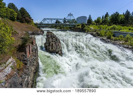 The roar of the Spokane falls in downtown Spokane Washington.