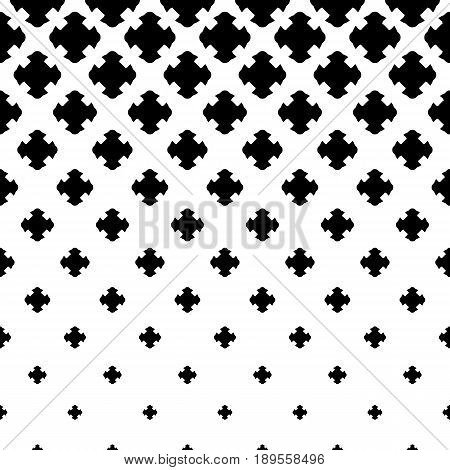Vector halftone texture, monochrome abstract pattern. Gradient transition effect from black to white. Falling geometric shapes carved crosses. Design element for prints, cover, decor, abstract digital background, fabric background, print shop