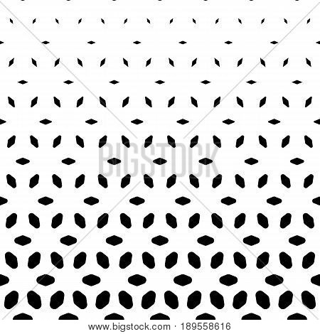 Vector halftone pattern, monochrome geometric texture, visual transition effect from black to white background. Vertical falling shapes morphing rhombuses. Modern fashionable background. Square design element for repeating pattern, cloth pattern