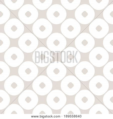 Vector seamless pattern with circles. Abstract geometric background in pastel colors beige & white. Simple texture repeat tiles. Stylish monochrome design for prints seamless pattern, home decor, textile, cover design, table cloth