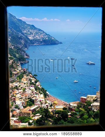 Beautiful view from a window of the Amalfi Coastline in Italy