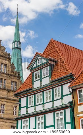 Colorful Facade And Church Tower In Hameln