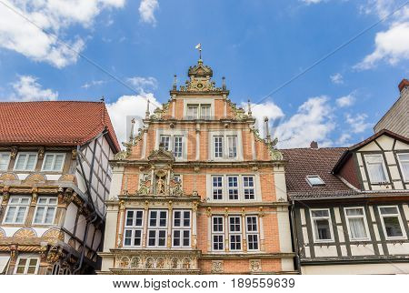 Decorated Facade Of The Leisthaus Museum In Hameln
