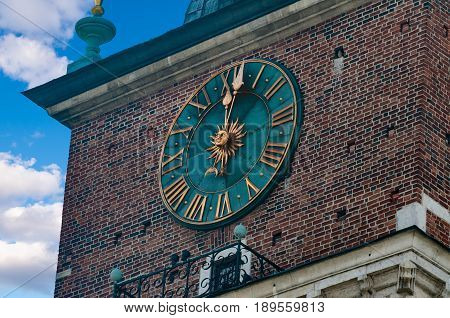 City Hall Clock Cracow Polska May 2107.