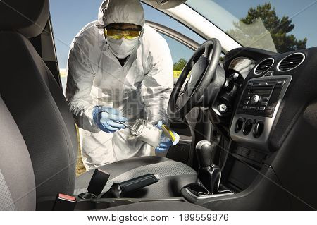Crime scene investigation - collecting of odor traces from car