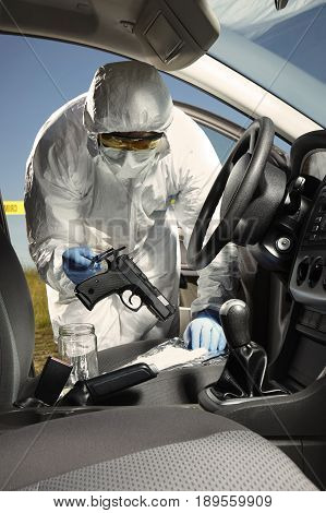 Crime scene investigation - collecting of odor traces from pistol in car
