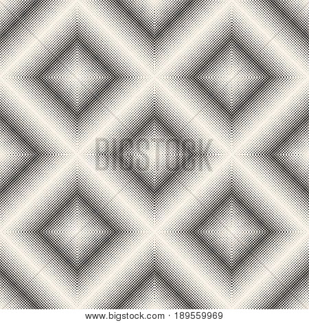 Vector seamless pattern, visual halftone transition effect background. Monochrome texture with tiny circles in rhomboid form, square abstract dotted background. Modern design for prints, covers, decor seamless pattern, fabric background, table cloth