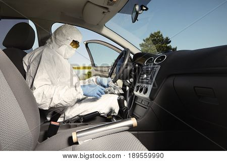 Crime scene investigation - collecting of odor traces from driving wheel
