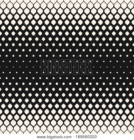 Vector halftone seamless pattern, monochrome geometric texture, visual transition effect from dark to light vertical falling rounded shapes background. Modern abstract background. Design for prints seamless pattern, decor texture, web pattern