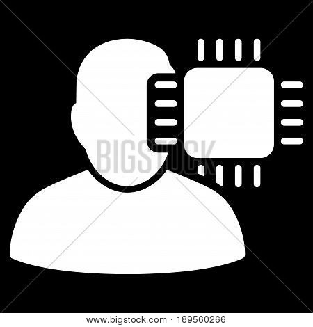 White Neuro Interface interface toolbar icon. Vector pictograph style is a flat symbol on diagonal hatch transparent background.