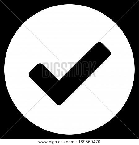White Yes interface toolbar icon. Vector pictogram style is a flat symbol on diagonal hatch transparent background.