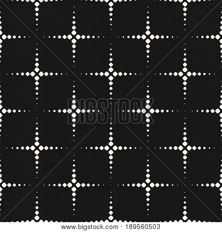 Vector monochrome seamless pattern, simple geometric texture, dotted shapes flash halftone crosses background. Abstract dark repeat vector background. Funky design element for decor seamless background, prints, textile, fabric repeating pattern, web