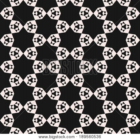 Vector seamless pattern, abstract geometric floral mosaic monochrome texture, simple geometrical shapes stars triangles hexagons repeat tiles background. Dark design for prints, digital, fabric background, cloth pattern, factory