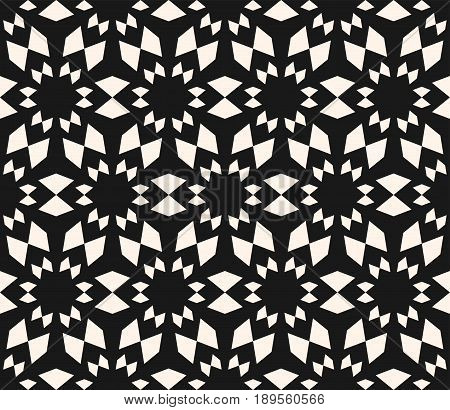 Vector seamless texture, floral tile pattern. Abstract dark monochrome geometric background with simple geometrical shapes flowers stars. Oriental design element for decor seamless pattern, fabric texture, prints, cover design