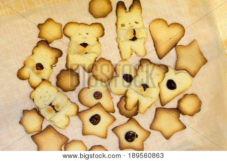 Funny homemade baking sweet shortbread cookies with nut