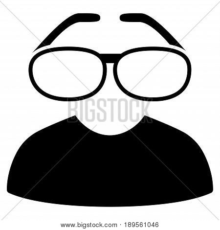 Black Clever Spectacles interface toolbar pictogram. Vector pictogram style is a flat symbol on diagonal hatch transparent background.